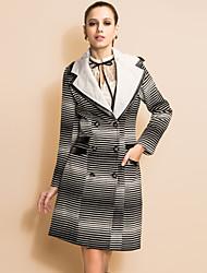TS Gradient Stripes PU Double Layered Collar Tweed Coat