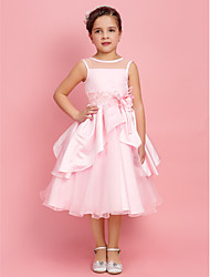 cheap -A-Line Princess Tea Length Flower Girl Dress - Satin Jewel Neck by LAN TING BRIDE®