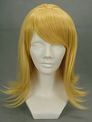 abordables -Pelucas de Cosplay Vocaloid Kagamine Rin Dorado Mediano Anime/Videojuego Pelucas de Cosplay 45 CM Fibra resistente al calor Mujer