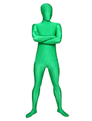 billige -Zentai Drakter Huddrag heldekkende drakter Ninja Voksne Cosplay-kostymer Kjønn Grønn Ensfarget Spandex Lykra Herre Dame Halloween / Høy Elastisitet