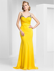 cheap -Mermaid / Trumpet Straps Sweep / Brush Train Chiffon Open Back Prom / Formal Evening Dress with Beading / Criss Cross by TS Couture®