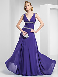 cheap -A-Line / Princess Plunging Neck Sweep / Brush Train Chiffon Prom / Formal Evening Dress with Beading / Side Draping / Ruched by TS Couture®