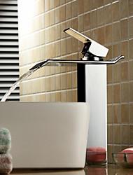 Недорогие -Современный Чаша Водопад Керамический клапан Одно отверстие Одной ручкой одно отверстие Хром, Ванная раковина кран