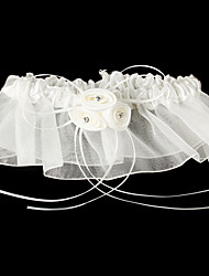 Strumpfband Satin Tüll Blume Weiß