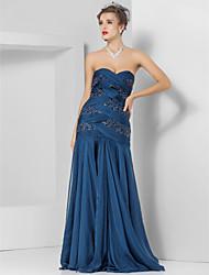 economico -Vestito chiffon dalla sirena / tromba senza bretelle lunghezza del pavimento con bordatura da ts couture®