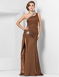 Sheath / Column One Shoulder Floor Length Chiffon Evening Dress with Beading by TS Couture®
