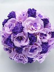 Hochzeitsblumen Rundförmig Rosen Sträuße Hochzeit Partei / Abend Satin Baumwolle Purpur ca.25cm