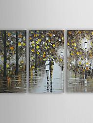 Handgemalte Landschaft / Menschen Drei Paneele Leinwand Hang-Ölgemälde For Haus Dekoration
