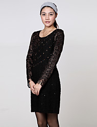 preiswerte -BLG Classic Long Sleeve Lace Dress