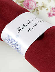 anneau de serviette en papier personnalisé - conception de coeur (ensemble de 50) réception de mariage