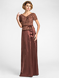 Sheath / Column V-neck Floor Length Lace Stretch Satin Mother of the Bride Dress with Sash / Ribbon by LAN TING BRIDE®