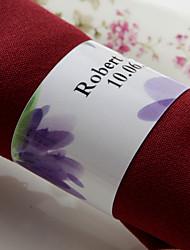 anneau de serviette en papier personnalisé - fleur pourpre (lot de 50) réception de mariage