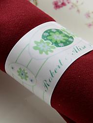 anneau de serviette en papier personnalisé - bouquet de fleurs vertes (lot de 50)