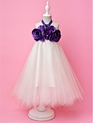 A-Line Princess Floor Length Flower Girl Dress - Tulle Sleeveless Halter by LAN TING BRIDE®