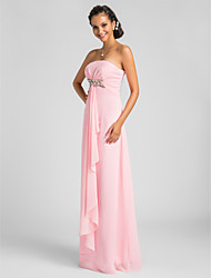 Sheath / Column Strapless Floor Length Chiffon Bridesmaid Dress with Draping Crystal Brooch Criss Cross by LAN TING BRIDE®