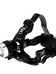 Недорогие -Светодиодные фонари Налобные фонари Фары для велосипеда 1000 lm Светодиодная лампа Cree® XM-L T6 1 излучатели 3 Режим освещения Перезаряжаемый / Алюминиевый сплав