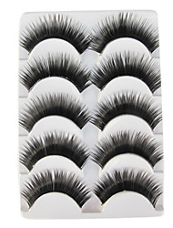 cheap -5 Pairs Black False Eyelashes European Lengthening Thicker Fiber Natural Looking Curved Lashes Eye