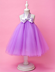 cheap -A-Line / Ball Gown Knee Length Flower Girl Dress - Tulle Sleeveless Halter Neck with Bow(s) / Draping / Crystal Brooch by LAN TING BRIDE® / Spring / Summer / Fall / Wedding Party / Holiday