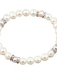 Elegante pérola de água doce branca e cristal bracele elástico estilo elegante