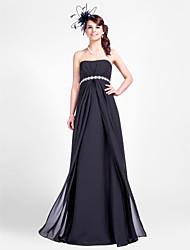Sheath / Column Strapless Floor Length Chiffon Bridesmaid Dress with Beading Draping Side Draping by LAN TING BRIDE®