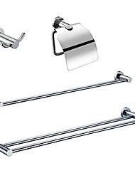 Недорогие -Латунь ванной комнаты Наборы (Включая Robe крючки, держатели туалетной бумаги, 2 бара полотенце - хромированная отделка)