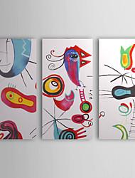 Недорогие -Абстрактная картина маслом, ручная роспись, комплект из трех единиц