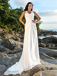 Linha A Decote V Cauda Corte Chiffon Vestido de casamento com Miçangas Lantejoulas Cruzado de LAN TING BRIDE®