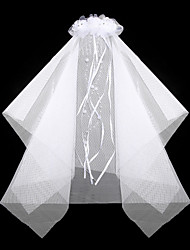 cheap -Gorgeous Satin/ Lace With Rhinestone/ Imitation Pearl Wedding Flower Girl Veil/ Headpiece Combs