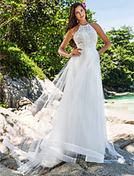 A-Line Princess Halter Chapel Train Lace Organza Wedding Dress with Pearl Lace by LAN TING BRIDE®