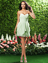 cheap -Sheath / Column Strapless Sweetheart Short / Mini Chiffon Bridesmaid Dress with Draping Criss Cross by LAN TING BRIDE®