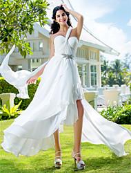 A-Line One Shoulder Asymmetrical Chiffon Wedding Dress with Sash / Ribbon Criss-Cross Crystal Floral Pin Side-Draped by LAN TING BRIDE®