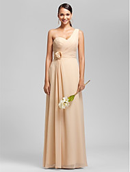 cheap -Sheath / Column One Shoulder Sweetheart Floor Length Chiffon Bridesmaid Dress with Flower by LAN TING BRIDE®