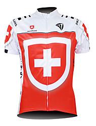 Kooplus Cycling Jersey Men's Short Sleeves Bike Jersey Tops Waterproof Zipper Front Zipper Wearable Breathable 100% Polyester National