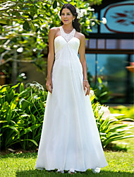 Sheath / Column Jewel Neck Sweep / Brush Train Chiffon Wedding Dress with Beading Side-Draped by LAN TING BRIDE®