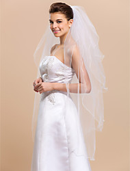 Wedding Veil Four-tier Fingertip Veils Pencil Edge 47.24 in (120cm) Tulle WhiteA-line, Ball Gown, Princess, Sheath/ Column, Trumpet/