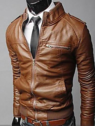 cheap -Men's Stand Collar Slim Motorcycle Jacket