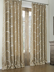 cheap -Rococo Bedroom Curve Brown Two Panels Panel Curtains Drapes