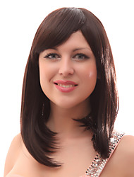 Capless 20% Human Hair Medium Straight Brown Hair Wig