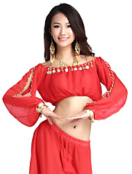 Belly Dance Tops Women's Training Chiffon Coins 1 Piece Long Sleeve Top