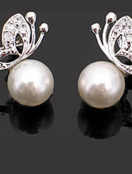 abordables -Mujer Perla Pendientes cortos - Básico Estilo lindo Moda Blanco / Plata Mariposa Animal Aretes Para Fiesta Diario Casual