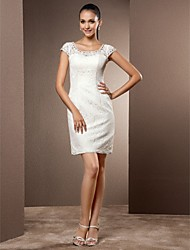 cheap -Sheath / Column Scoop Neck Short / Mini Lace Wedding Dress with Crystal Beading by LAN TING BRIDE®