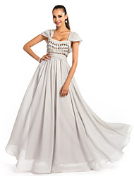 A-Line Princess Square Neck Floor Length Chiffon Prom Dress with Beading by TS Couture®