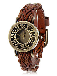 cheap -Women's Watch Bohemian Hollow Dial Knitted Leather Band Cool Watches Unique Watches Fashion Watch Strap Watch