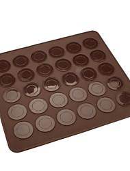 preiswerte -30 Löcher braune Silikonmakronen-Plätzchenmatte 28.5cm * 25.8cm * 0.3cm