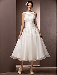 A-Line Jewel Neck Tea Length Organza Wedding Dress with Beading Pearl Appliques by LAN TING BRIDE®
