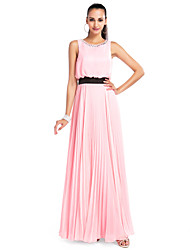 A-Line Jewel Neck Floor Length Chiffon Prom Dress with Crystal by TS Couture®