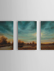 cheap -Hand-Painted Landscape / Abstract Landscape Three Panels Canvas Oil Painting For Home Decoration