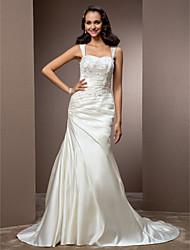 Mermaid / Trumpet Square Neck Court Train Satin Wedding Dress with Beading Sash / Ribbon Side-Draped by LAN TING BRIDE®