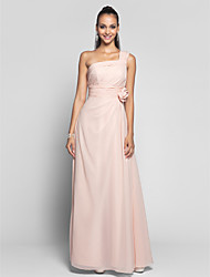 cheap -Sheath / Column One Shoulder Floor Length Chiffon Prom Dress withFlower(s) Sash / Ribbon Side Draping by TS Couture®