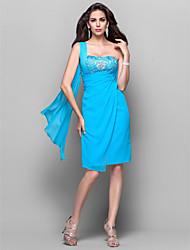 preiswerte -Eng anliegend Ein-Schulter Knie-Länge Chiffon Cocktailparty Kleid mit Perlenstickerei Kristall Verzierung Spitze Seitlich drapiert durch